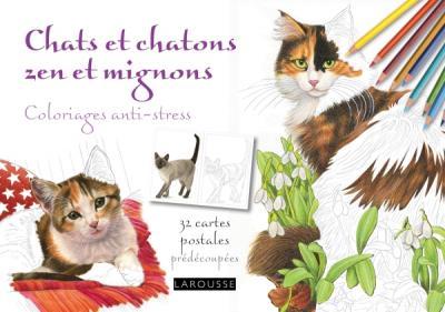 Chats et chatons zen et mignons coloriages anti-stress /cartes postales