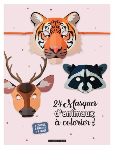 24 masques animaux à colorier !