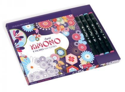 Esprit kimono à colorier aux feutres