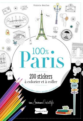 200 stickers à colorier-100 % Paris