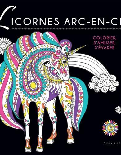 Coloriage Black - Licornes arc-en-ciel